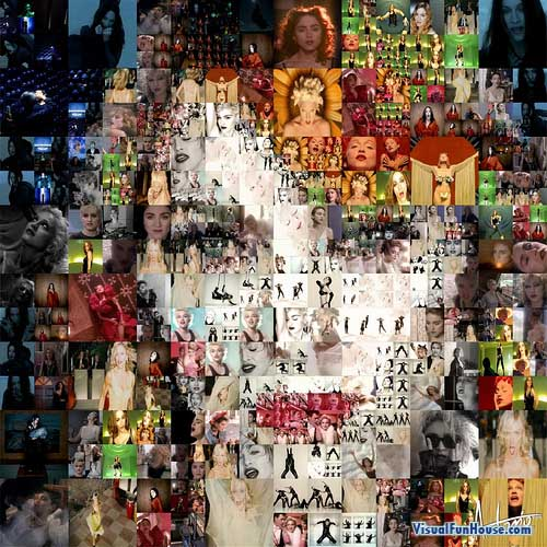 Madonna Mosaic made up of pictures of Madonna.