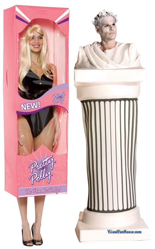 Barbie Doll box costume and Cesar Statue costume