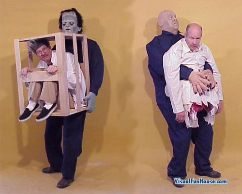 Frankenstein and severed head illusion costumes