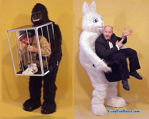 Gorilla with man in cage and Rabbit costumes