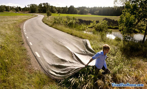 Photoshopped Plastic Road - stretching out the highway!