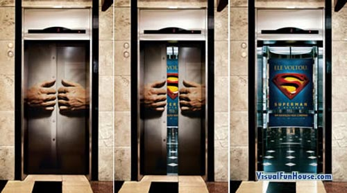 Superman Movie Elevator Ad