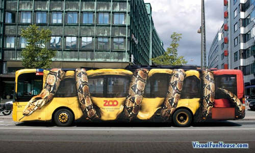 Giant Python Snake crunching a bus