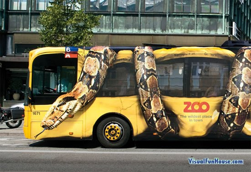 Giant Snake crunching a bus